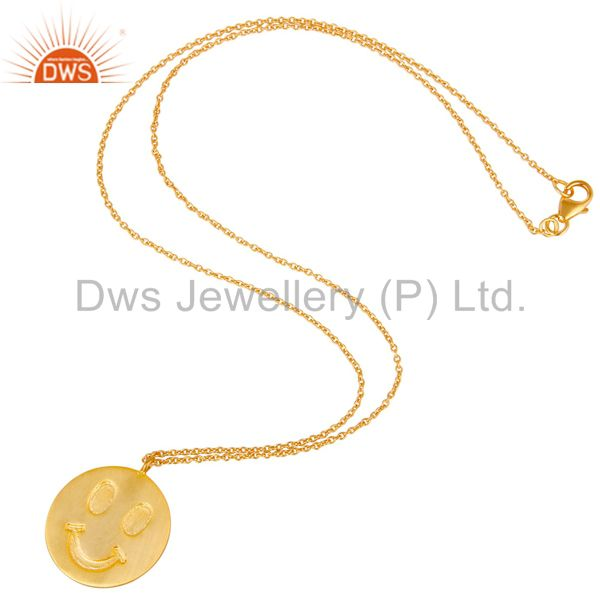 Suppliers 18k Yellow Gold Plated Sterling Silver Face Carving Pendant with Chain