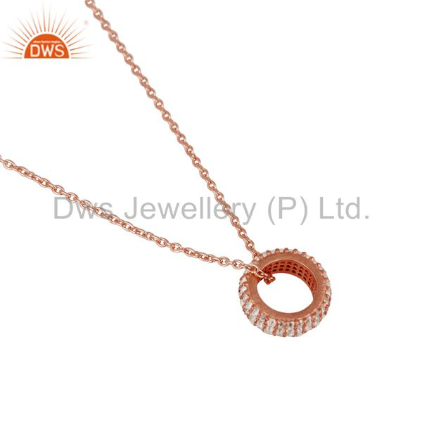 Suppliers 18k Rose Gold Plated Sterling Silver Fashion Charming White Topaz Chain Pendant
