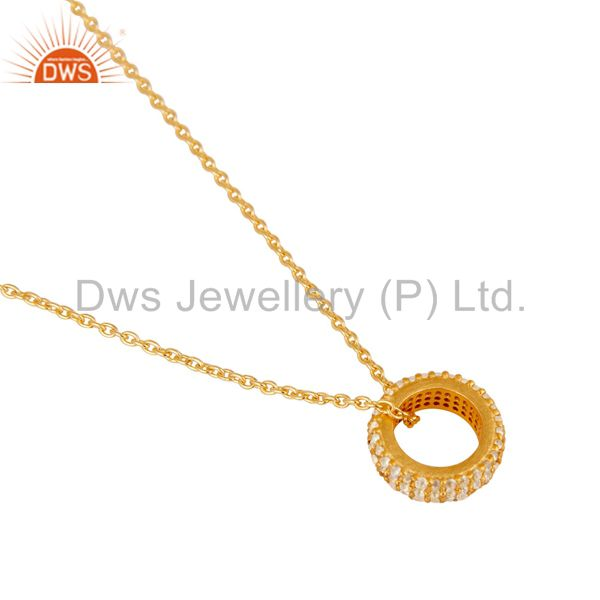 Suppliers 18k Yellow Gold Plated Sterling Silver Fashion White Topaz Chain Pendant
