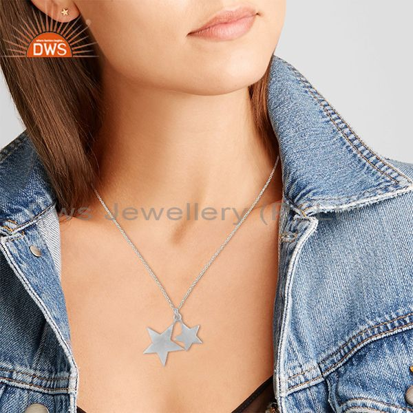 Suppliers 925 Solid Sterling Silver Star Design Charm Pendant With Chain