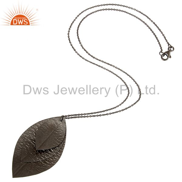 Designers Handmade Solid Sterling Silver With Oxidized Three Petal Pendant With Chain
