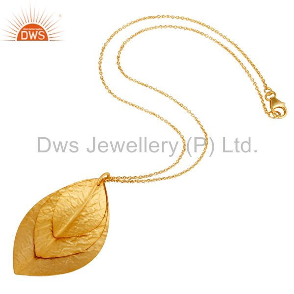Designers Indian Handcrafted 925 Sterling Silver 24k Yellow Gold Plated Pendant Necklace