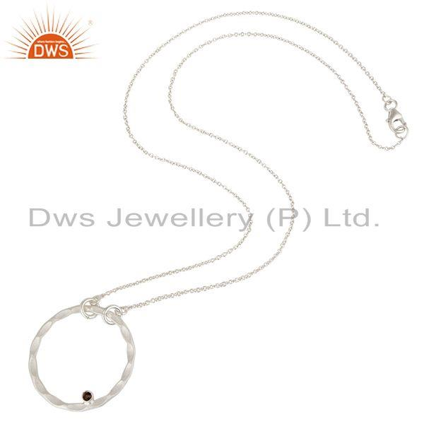 Suppliers Solid Sterling Silver Smokey Quartz Open Hammered Circle Pendant With Chain