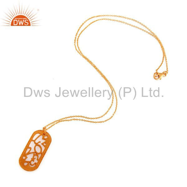 Designers 18-Carat Yellow Gold Plated Sterling Silver Handmade Designer Pendant With Chain