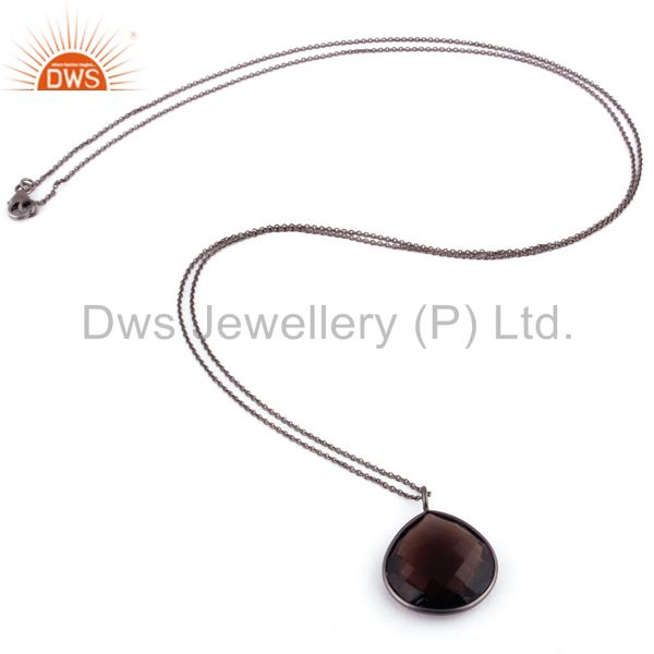 Suppliers Black Rhodium Plated Sterling Silver Natural Smoky Quartz Drop Pendant With Chai