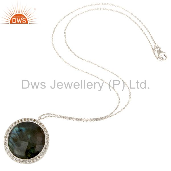 Designers 925 Sterling Silver Labradorite And White Topaz Halo Style Pendant With Chain
