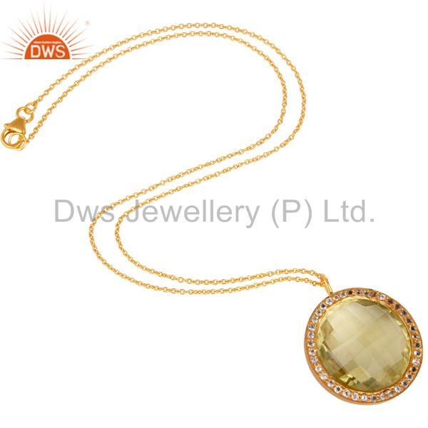 Designers Lemon Topaz and White Topaz 18K Gold Plated Sterling Silver Pendant Necklace