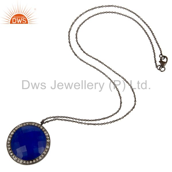 Designers Sterling Silver With Oxidized Blue Aventurine And White Topaz Pendant With Chain