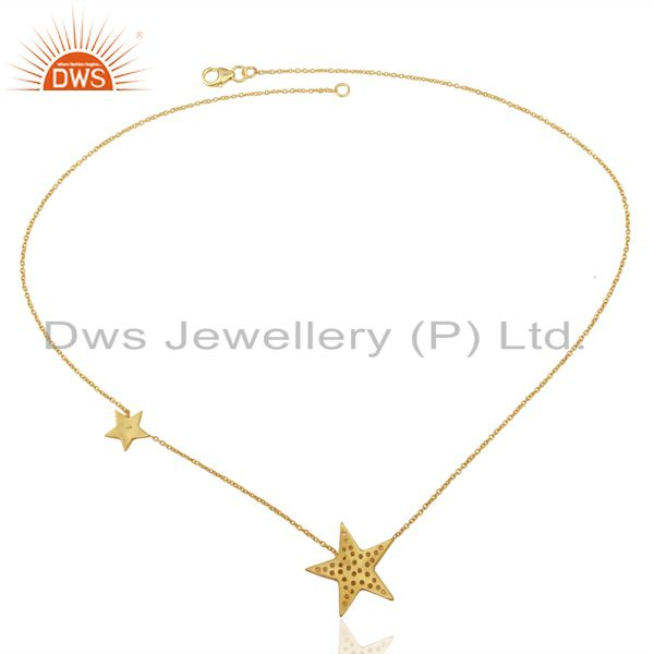Suppliers 18K Yellow Gold Plated Sterling Silver White Topaz Star Charms Chain Necklace