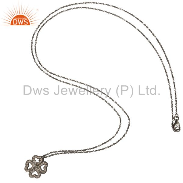 Suppliers 925 Sterling Silver With Oxidized White Topaz Heart Designer Pendant With Chain