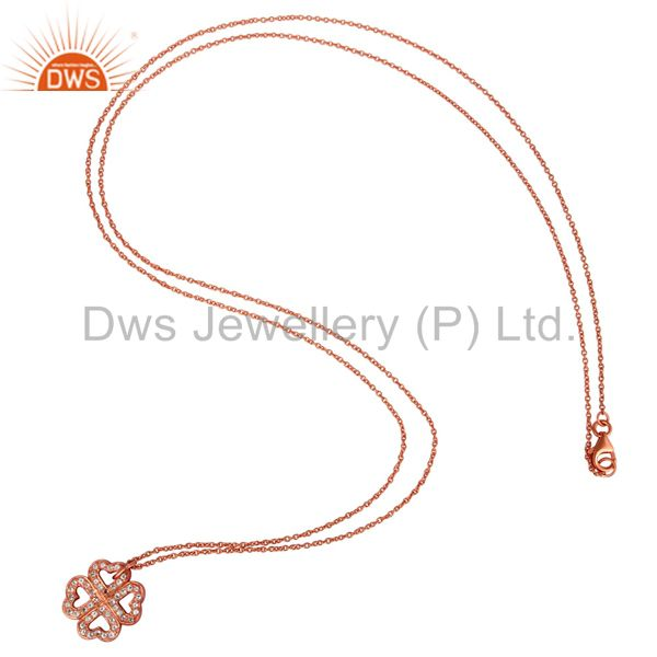 Suppliers 18K Rose Gold Plated Sterling Silver White Topaz Pendant With Chain Necklace