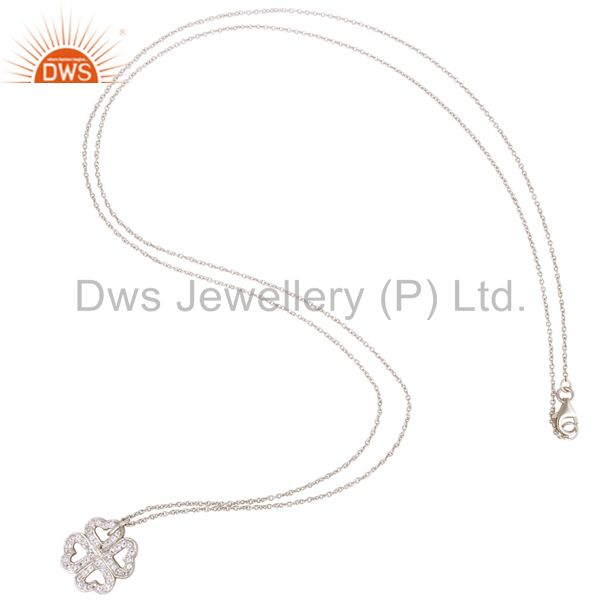 Suppliers 925 Sterling Silver White Topaz Heart Designer Pendant With Chain Necklace