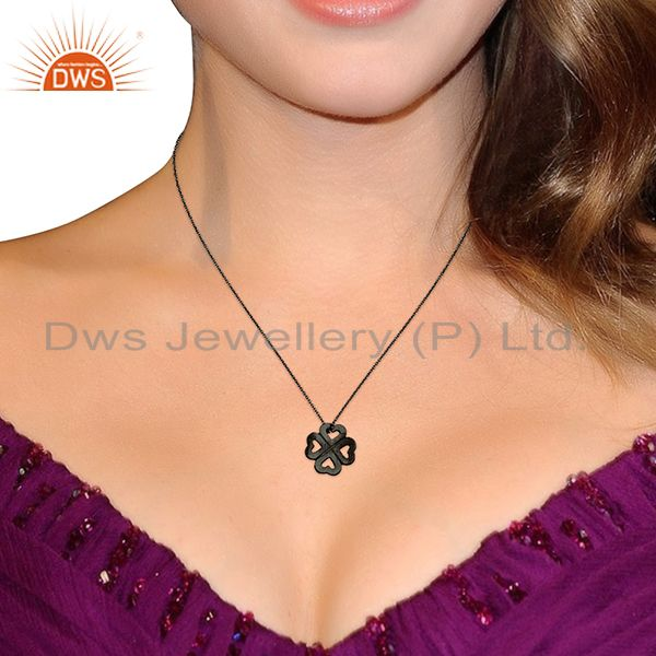 Suppliers Handmade 925 Sterling Silver Oxidized Heart Design Pendant With Chain Necklace