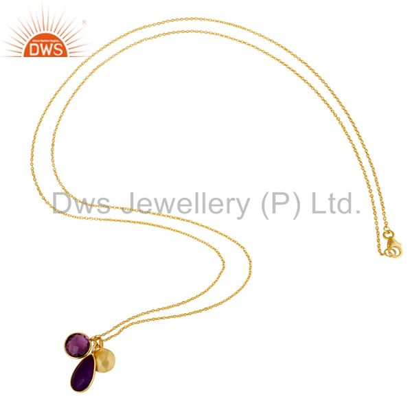 Designers 18K Yellow Gold Plated Sterling Silver Amethyst And Purple Chalcedony Necklace