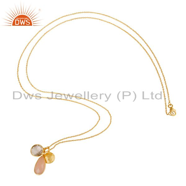 Designers 18K Yellow Gold Plated Silver Crystal Quartz & Rose Chalcedony Pendant Necklace