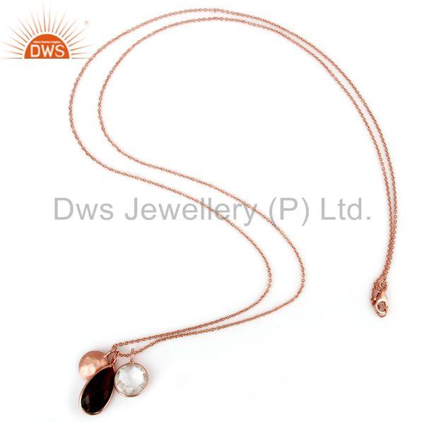 Designers 18K Rose Gold Plated Sterling Silver Crystal Quartz And Smoky Pendant With Chain