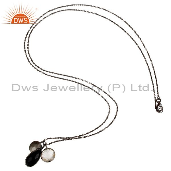 Designers Oxidized Sterling Silver Crystal Quartz And Black Onyx Drop Pendant With Chain