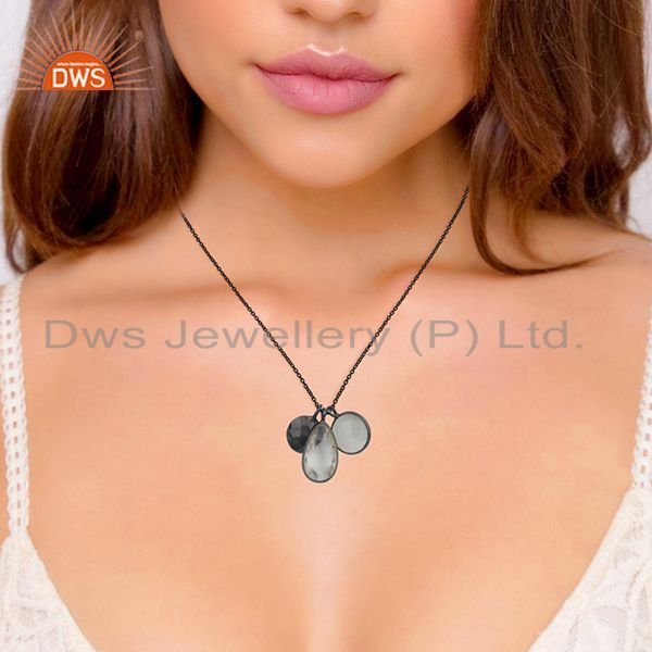 Suppliers Oxidized Sterling Silver Crystal Quartz And Moonstone Pendant Charms Necklace