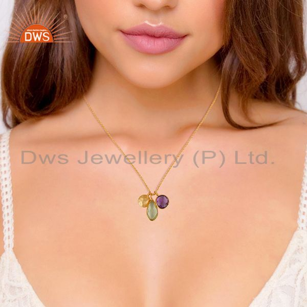 Suppliers 18K Yellow Gold Plated Sterling Silver Lemon Topaz And Amethyst Chain Necklace