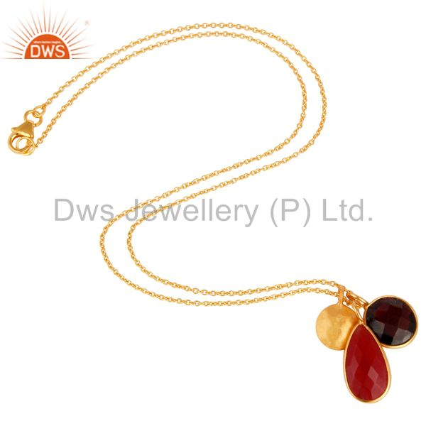 Designers 18K Gold Plated Sterling Silver Garnet And Red Aventurine Pendant With Chain