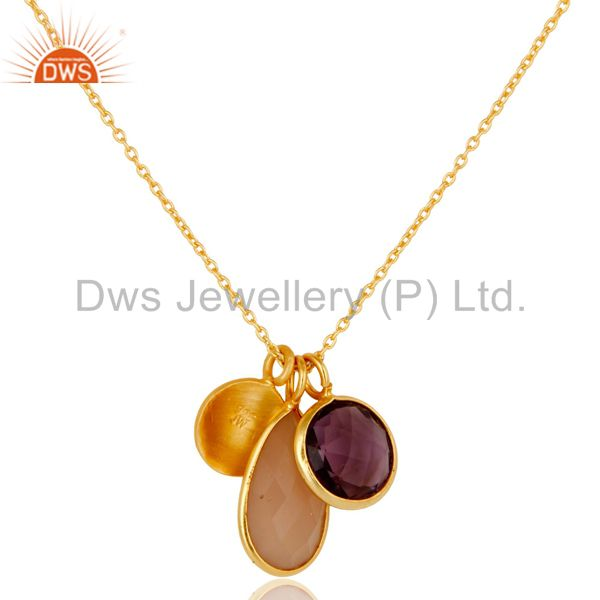 Designers Amethyst & Chalcedony 18k Gold Plated Sterling Silver Bazel Set Chain Pendant