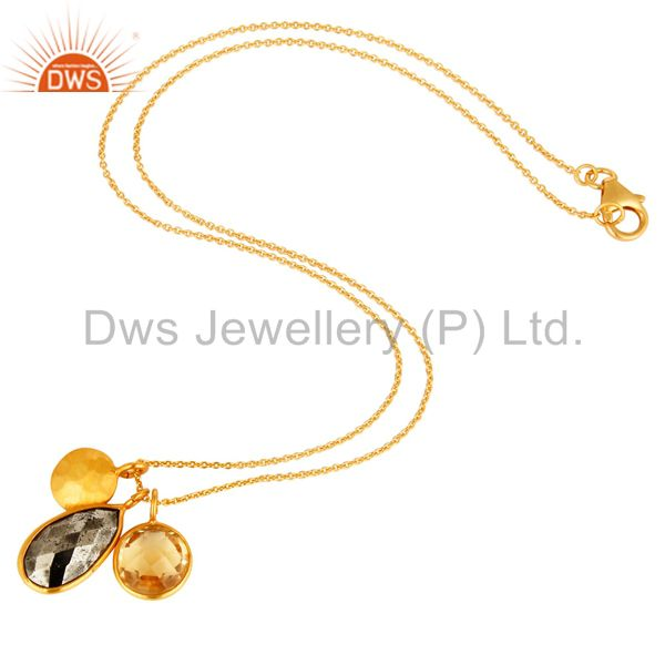 Designers 18K Gold Plated Sterling Silver Bezel Set Citrine & Pyrite Pendant With Chain