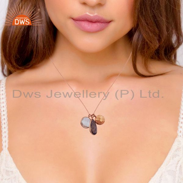 Suppliers 18K Rose Gold Plated Sterling Silver Crystal Quartz And Smoky Quartz Pendant