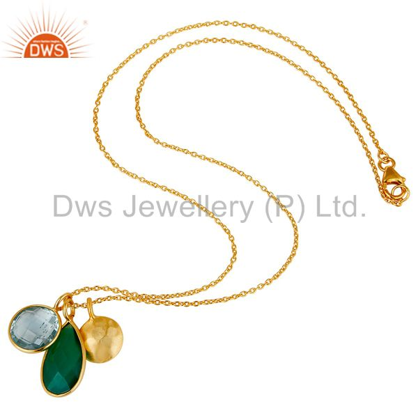 Designers 18K Gold Plated Sterling Silver Bezel Set Blue Topaz & Onyx Pendant With Chain
