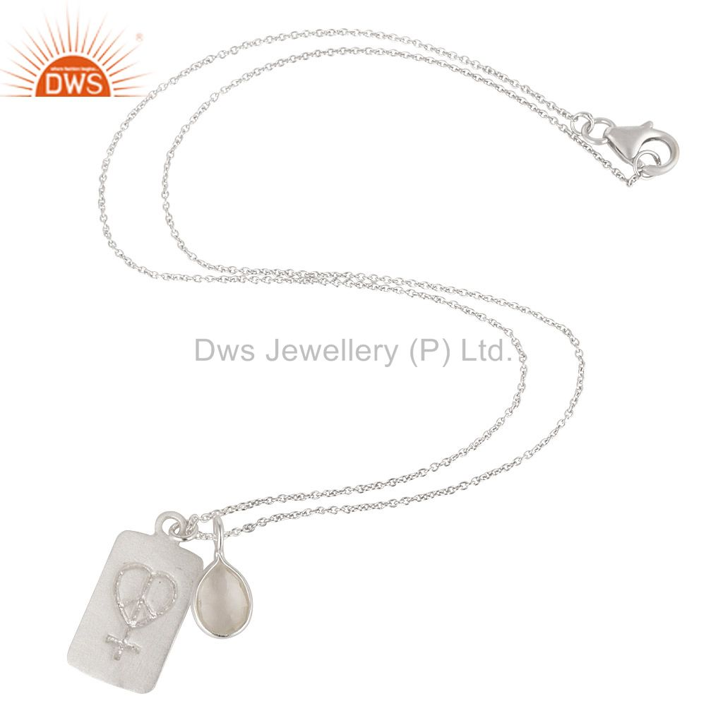 Suppliers Handmade Sterling Silver Crystal Quartz And Peace Sign Charms Pendant Necklace