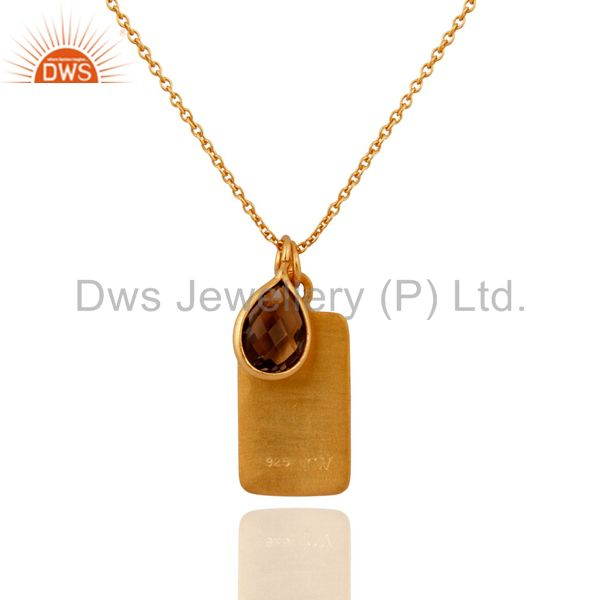 Suppliers 18K Yellow Gold Plated Sterling Silver Smoky Quartz Pendant Bezel With Chain