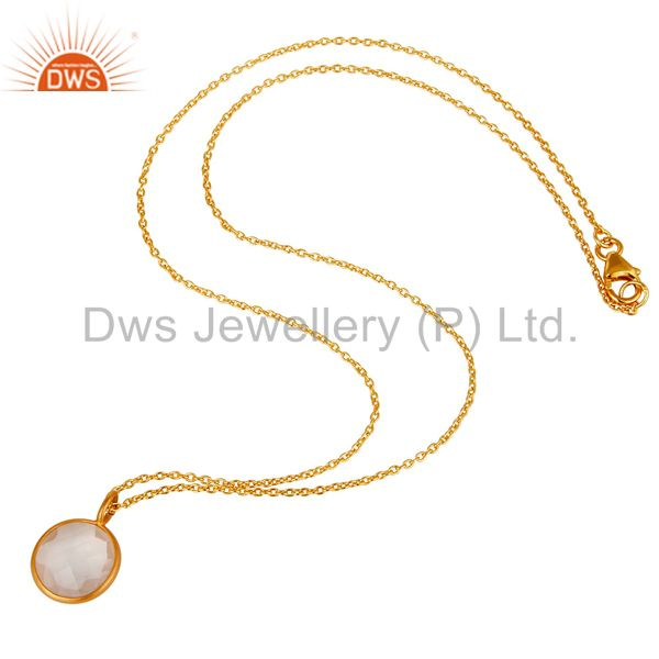 Designers Rose Quartz 14K Yellow Gold Plated 925 Sterling Silver Chain Pendant Jewelry