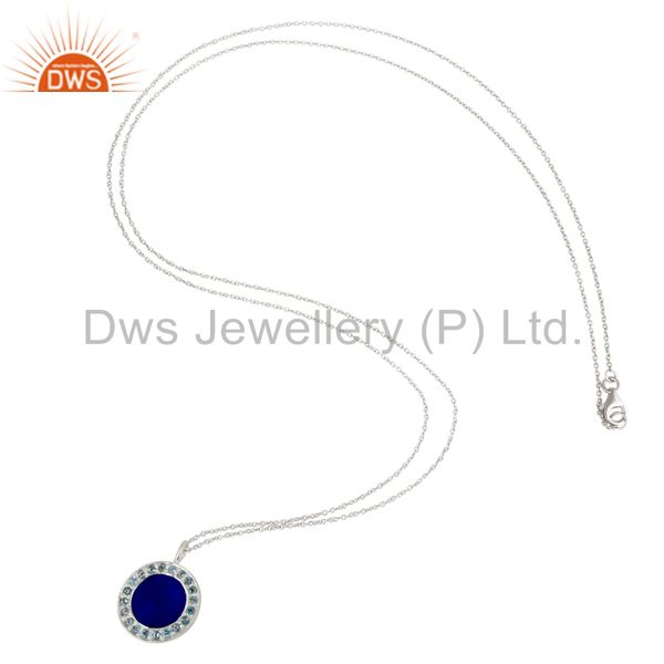 Designers Blue Aventurine and Blue Topaz Sterling Silver Gemstone Pendant with Chain