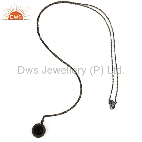 Suppliers Black Onyx And Smoky Quartz Pendant Necklace In Oxidized Sterling Silver