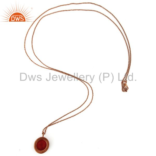 Suppliers 18K Rose Gold Plated Sterling Silver Red Aventurine & White Topaz Pendant