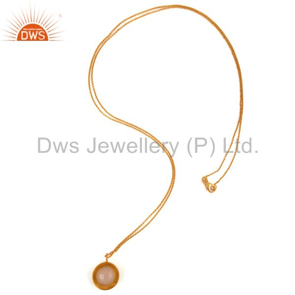 Designers 18K Gold Plated Sterling Silver Rose Chalcedony & White Topaz Pendant With Chain