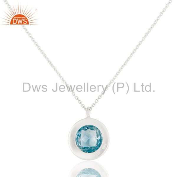 Designers Blue Topaz & White Topaz Gemstone Chain Pendant With Solid 925 Sterling Silver