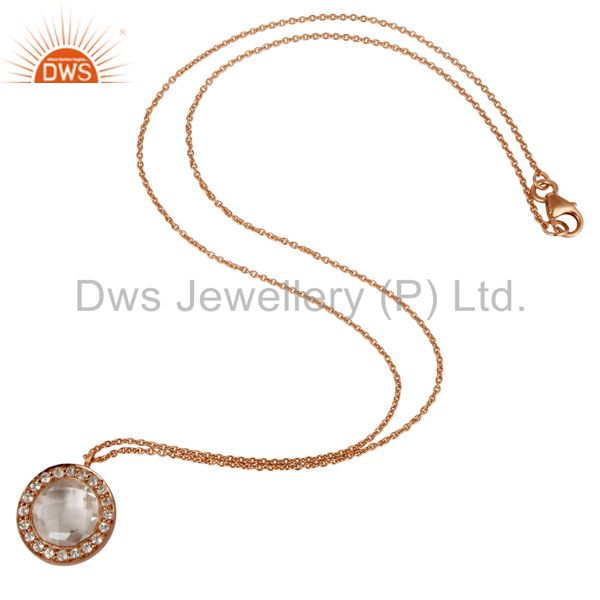 Designers 18K Rose Gold Plated Silver Crystal Quartz And White Topaz Pendant With Chain