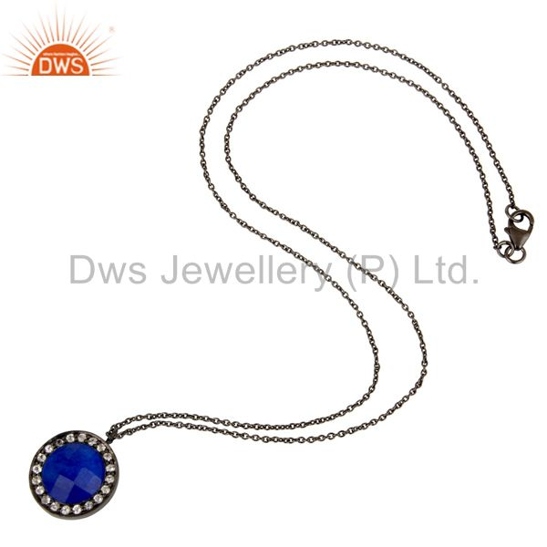 Designers Oxidized Sterling Silver Blue Aventurine And White Topaz Pendant With Chain