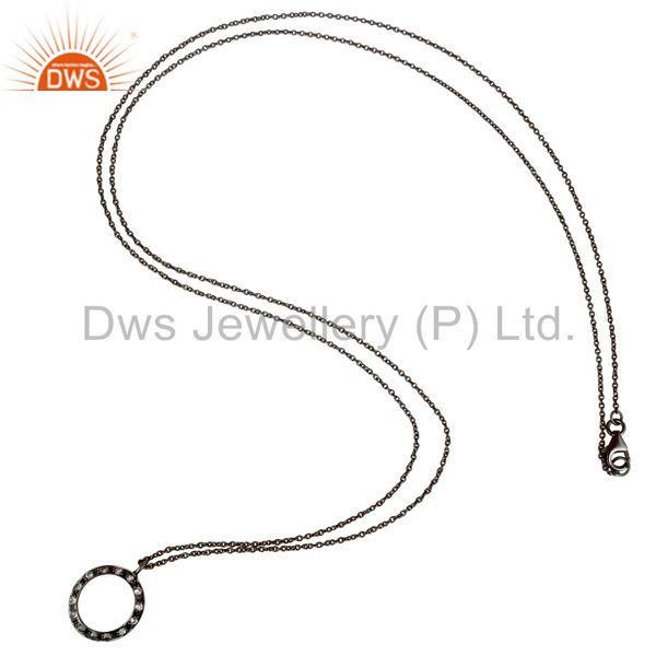 Suppliers 925 Sterling Silver With Oxidized White Topaz Open Circle Pendant With Chain