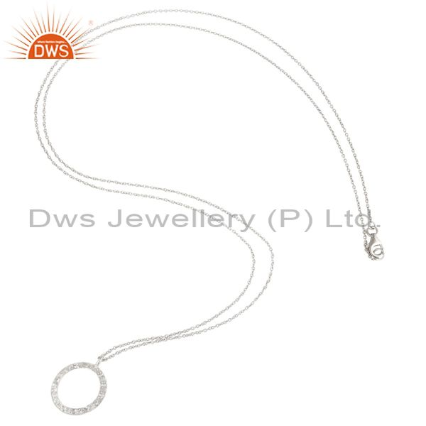 Suppliers 925 Sterling Silver White Topaz Gemstone Circle Pendant With Chain Necklace