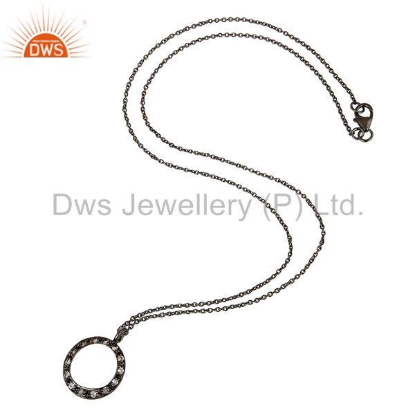 Designers Sterling Silver White Topaz Circle Designs Pendant Necklace With Black Oxidized