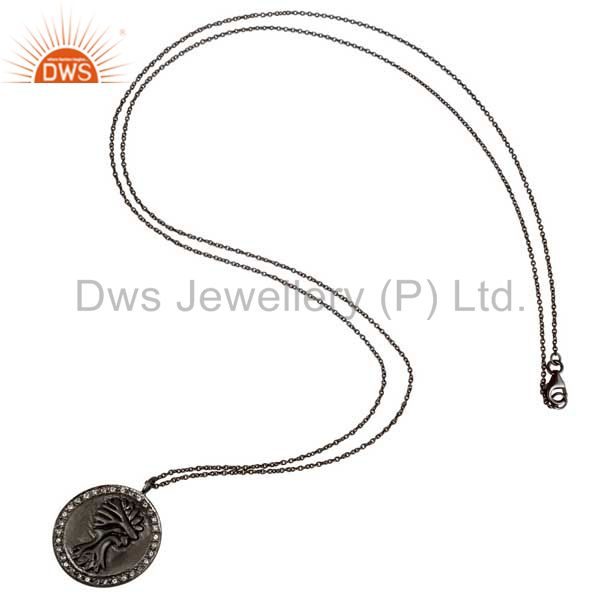 Suppliers 925 Sterling Silver With Oxidized White Topaz Vintage Coin Pendant With Chain