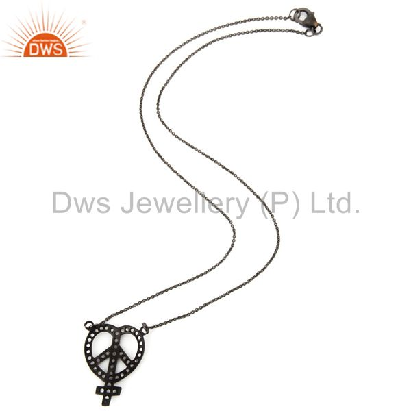 Suppliers Rhodium Plated Sterling Silver White Topaz Heart, Ankh & Peace Sign Necklace