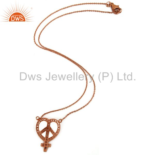Suppliers 18K Rose Gold Plated Sterling Silver White Topaz Peace Sign Pendant Necklace