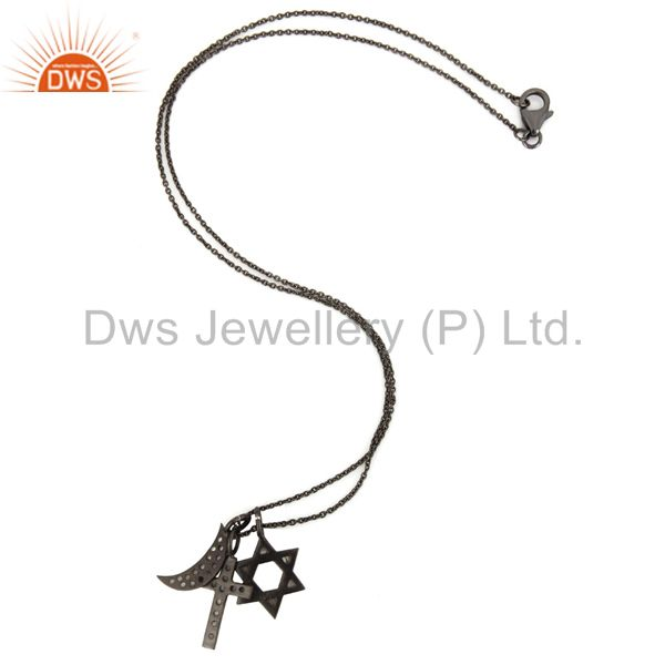 Designers Oxidized Sterling Silver White Topaz Cross, Half Moon And Star Charms Necklace