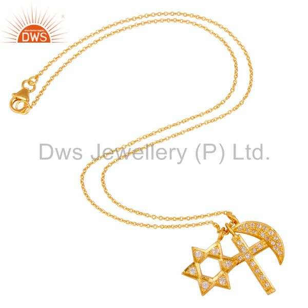 Designers Yellow Gold Plated Silver White Topaz Cross, Half Moon & Star Charms Necklace