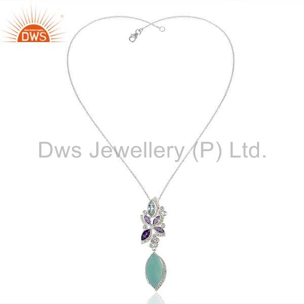 Suppliers Aqua Chalcedony Gemstone White Topaz Gemstone Pendant Necklace