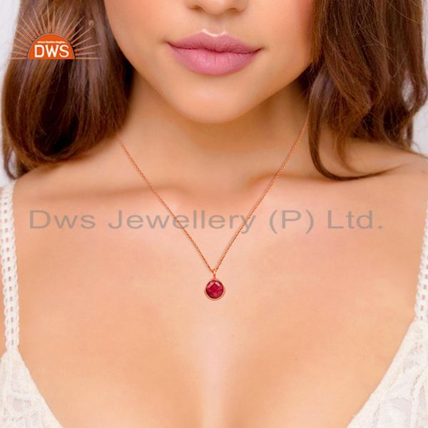 Suppliers Ruby Corundum Gemstone Rose Gold Plated 925 Silver Pendant Supplier Jaipur India