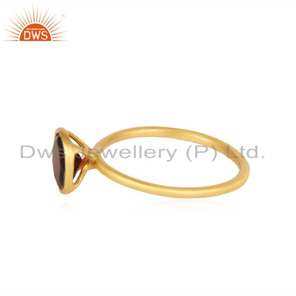 Suppliers 18K Yellow Gold Plated Sterling Silver Garnet Gemstone Stackable Ring