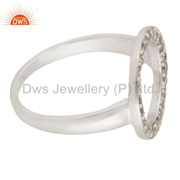 Suppliers 925 Sterling Silver Pave Set Natural Diamond Open Circle Ring